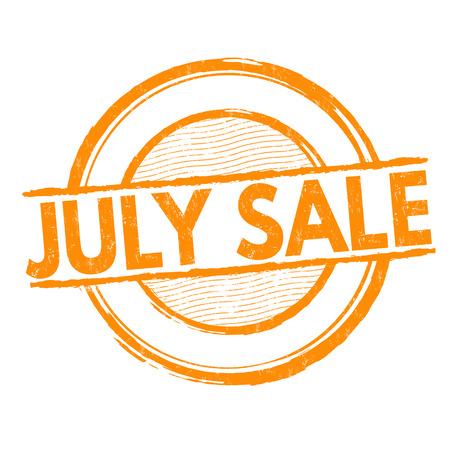 sello: Julio la venta del grunge sello de goma en blanco, ilustración vectorial Vectores