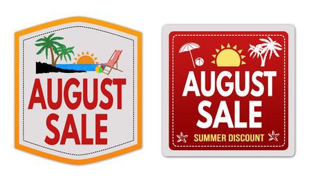 aug: August sale stickers set on white background, vector illustration Illustration