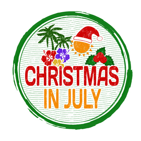 christmas in july: Christmas in july grunge rubber stamp on white, vector illustration