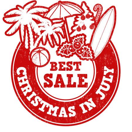 Kerstmis in juli grunge rubber stempel op wit, vector illustratie