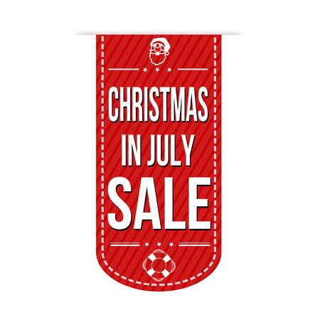 흰색 배경 통해 7 월 판매 배너 디자인의 크리스마스, 벡터 일러스트 레이 션