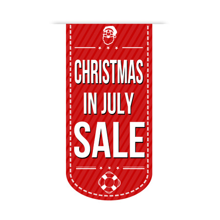 noel: Christmas in july sale banner design over a white background, vector illustration
