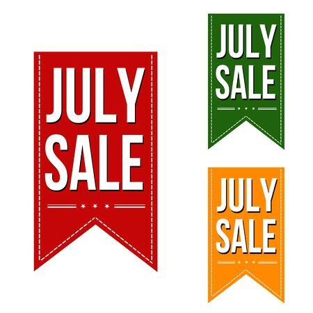 advertised: July sale banners design over a white background, vector illustration Illustration