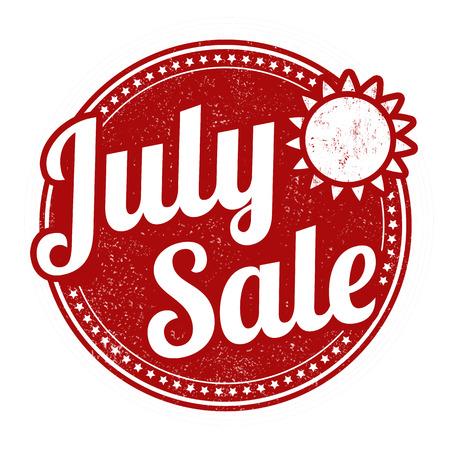 advertised: July sale grunge rubber stamp on white, vector illustration