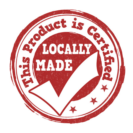 locally: Locally made grunge rubber stamp on white background, vector illustration