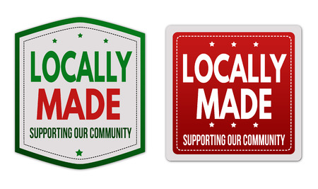 business support: Locally made stickers set on white background, vector illustration