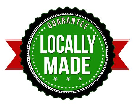 locally: Locally made badge on white background, vector illustration