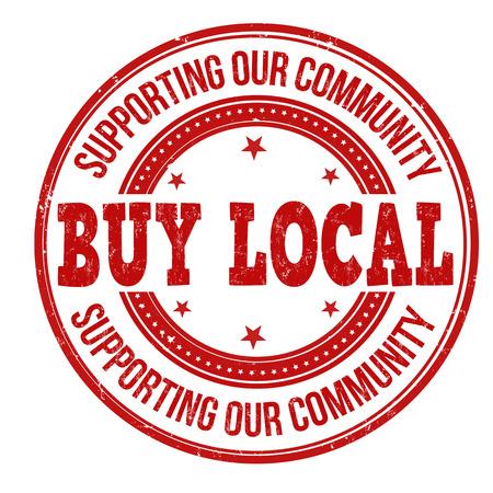 Buy local red grunge rubber stamp on white background, vector illustration Foto de archivo