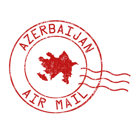 grungy email: Azerbaijanpost office, air mail, grunge rubber stamp on white background, vector illustration