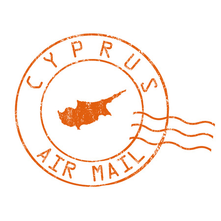 post mail: Cyprus post office, air mail, grunge rubber stamp on white background, vector illustration Illustration