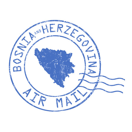 bosnia: Bosnia and Herzegovina post office, air mail, grunge rubber stamp on white background, vector illustration