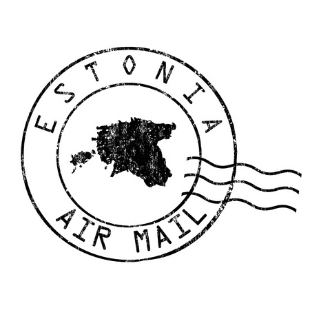 grungy email: Estonia post office, air mail, grunge rubber stamp on white background, vector illustration Illustration