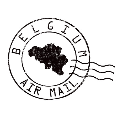 grungy email: Belgium post office, air mail, grunge rubber stamp on white background, vector illustration