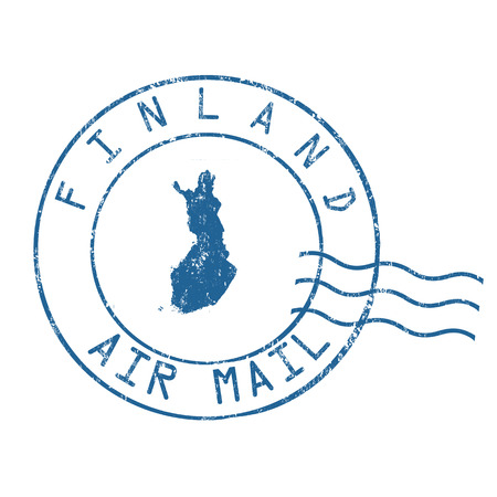 grungy email: Finland post office, air mail, grunge rubber stamp on white background, vector illustration