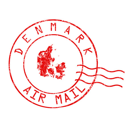 post: Denmark post office, air mail, grunge rubber stamp on white background, vector illustration