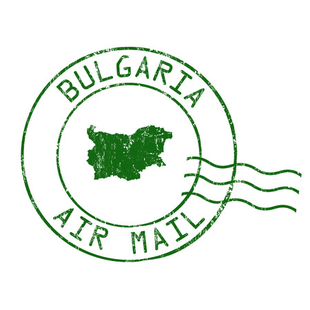 post stamp: Bulgaria post office, air mail, grunge rubber stamp on white background, vector illustration Illustration