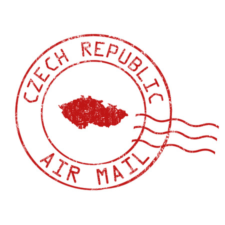 postage: Czech Republic post office, air mail, grunge rubber stamp on white background, vector illustration