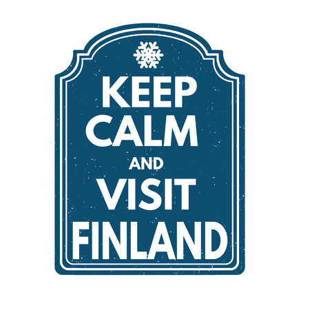 finland: Keep calm and visit Finland grunge rubber stamp on white background, vector illustration Illustration
