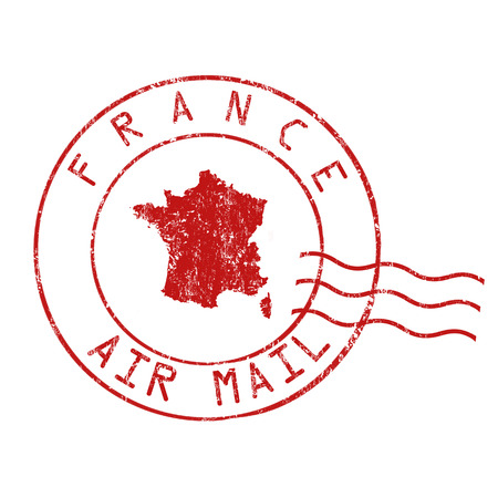 grungy email: France post office, air mail, grunge rubber stamp on white background, vector illustration Illustration