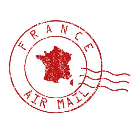france stamp: France post office, air mail, grunge rubber stamp on white background, vector illustration Illustration