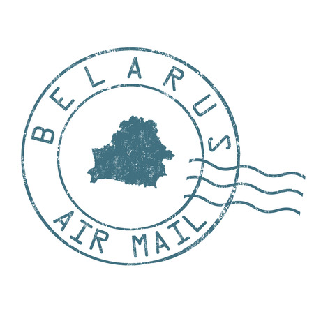 post mail: Belarus  post office, air mail, grunge rubber stamp on white background, vector illustration