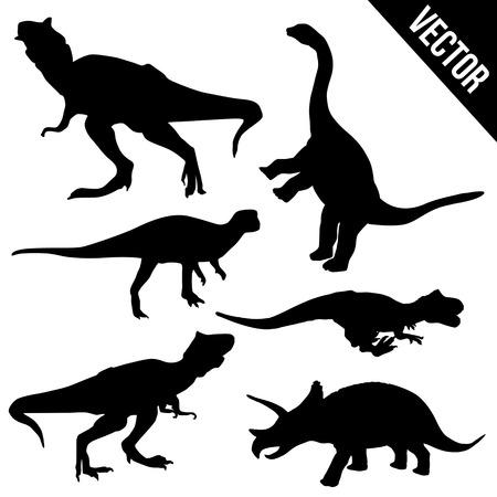 dinosaurio: Conjunto de siluetas de dinosaurios en el fondo blanco, ilustraci�n vectorial Vectores