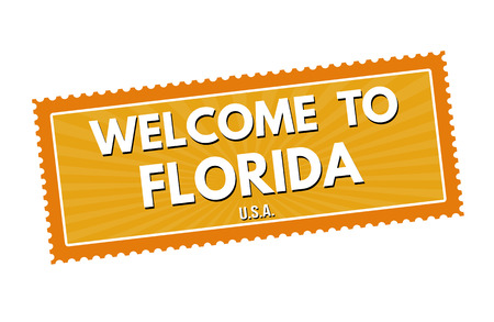 visit us: Welcome to Florida travel sticker or stamp on white background, vector illustration