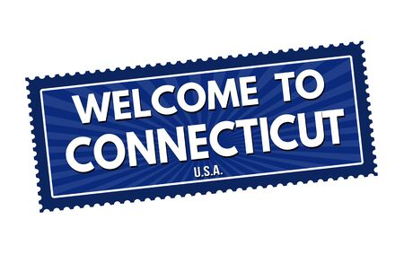 visit us: Welcome to Connecticut travel sticker or stamp on white background, vector illustration