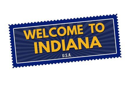 impress: Benvenuti a autoadesivo di corsa Indiana o timbro su sfondo bianco, illustrazione vettoriale