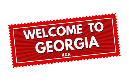 visit us: Welcome to Georgia travel sticker or stamp on white background, vector illustration Illustration