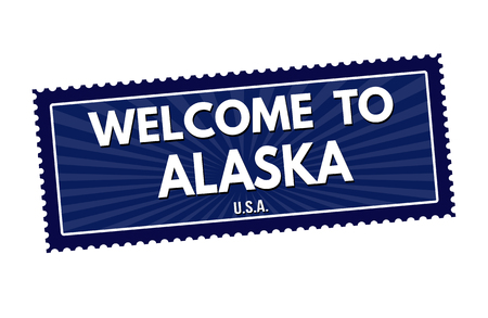 visit us: Welcome to Alaska travel sticker or stamp on white background, vector illustration