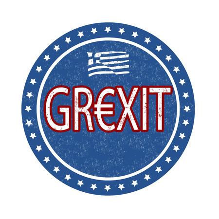 crisis: Grexit grunge rubber stamp on white background, vector illustration Illustration