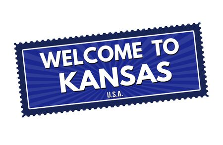 visit us: Welcome to Kansas travel sticker or stamp on white background, vector illustration
