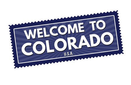visit us: Welcome to Colorado travel sticker or stamp on white background, vector illustration Illustration