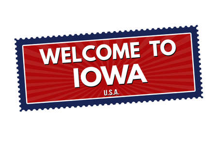 visit us: Welcome to Iowa travel sticker or stamp on white background, vector illustration Illustration