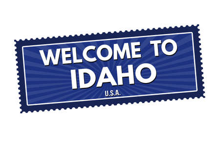 visit us: Welcome to Idaho travel sticker or stamp on white background, vector illustration Illustration
