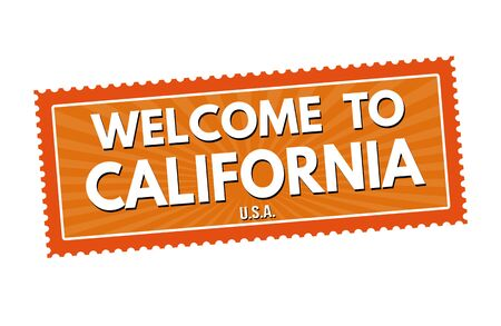 visit us: Welcome to California travel sticker or stamp on white background, vector illustration Illustration
