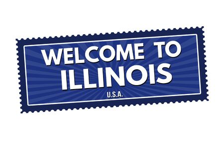 visit us: Welcome to Illinois travel sticker or stamp on white background, vector illustration