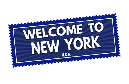 Welcome to New York travel sticker or stamp on white background, vector illustration Illustration