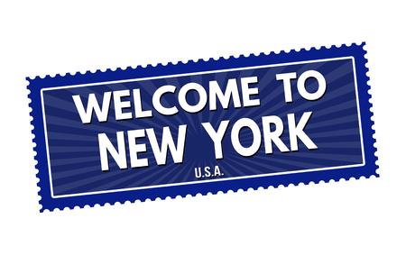 visit us: Welcome to New York travel sticker or stamp on white background, vector illustration Illustration