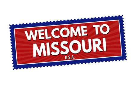 visit us: Welcome to Missouri travel sticker or stamp on white background, vector illustration