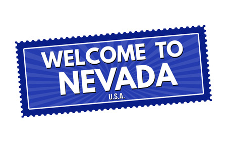 visit us: Welcome to Nevada travel sticker or stamp on white background, vector illustration Illustration