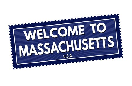visit us: Welcome to Massachusetts travel sticker or stamp on white background, vector illustration