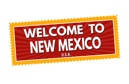 visit us: Welcome to New Mexico travel sticker or stamp on white background, vector illustration