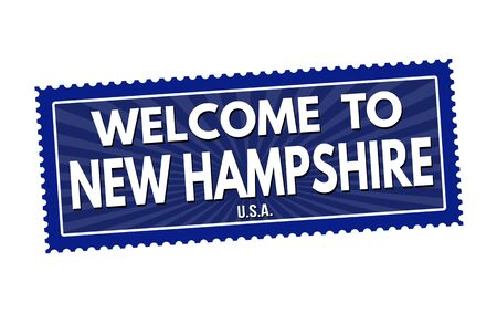 visit us: Welcome to New Hampshire travel sticker or stamp on white background, vector illustration