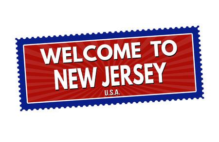 impress: Benvenuti a autoadesivo di corsa in New Jersey o timbro su sfondo bianco, illustrazione vettoriale