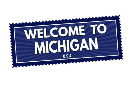 visit us: Welcome to Michigan travel sticker or stamp on white background, vector illustration Illustration