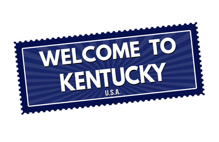 Welcome to Kentucky travel sticker or stamp on white background, vector illustration