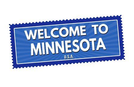 the welcome: Bienvenido a la etiqueta engomada de viajes Minnesota o sello en el fondo blanco, ilustraci�n vectorial