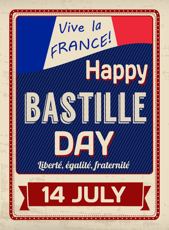 bastille: Happy Bastille Day poster in vintage style, vector illustration